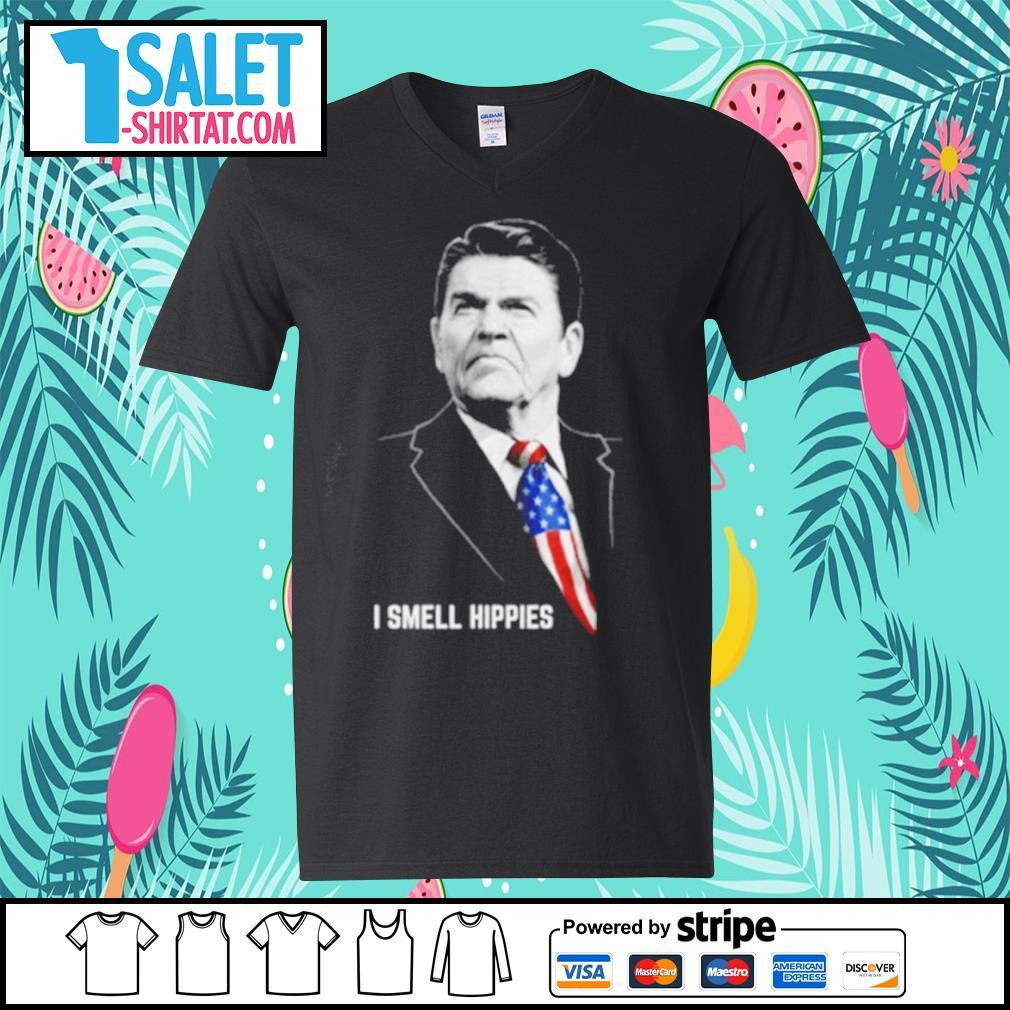 Ronald Reagan I smell hippies s v-neck-t-shirt.jpg