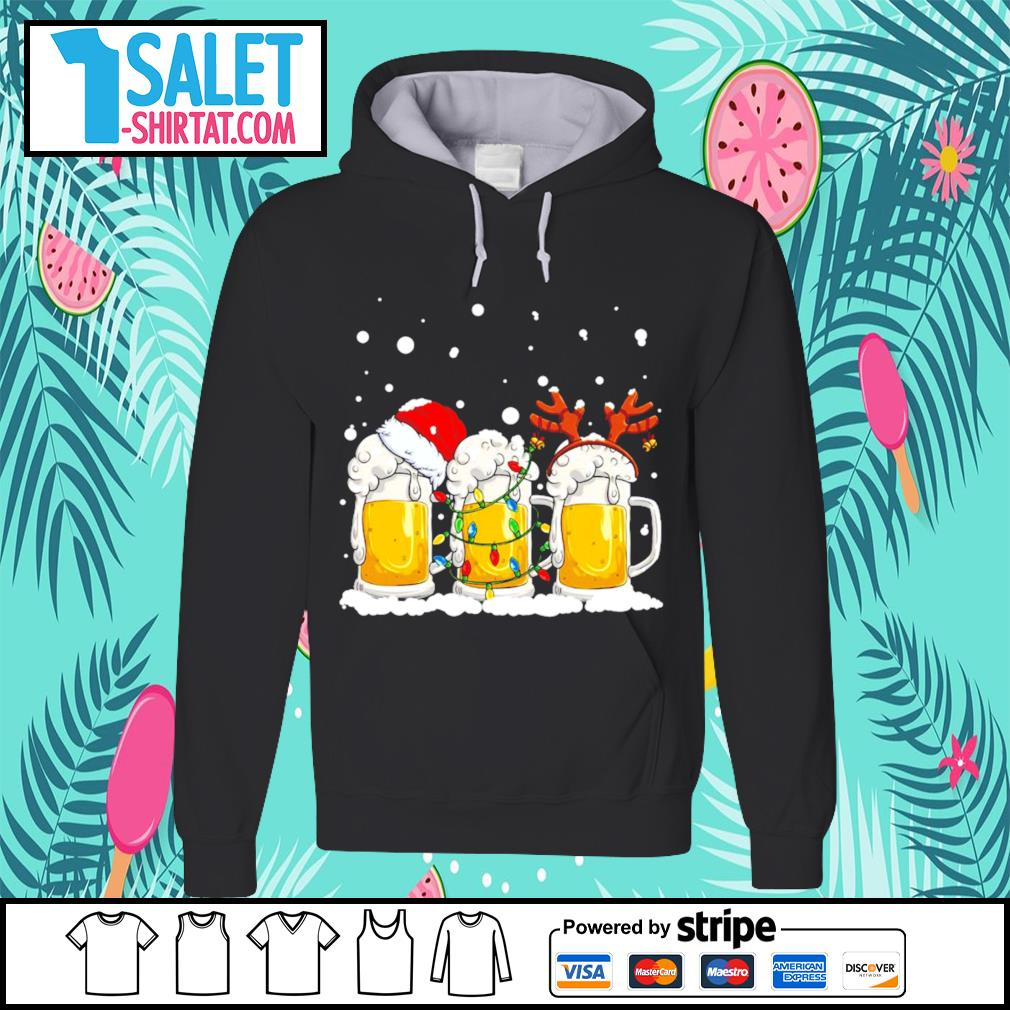 Beer Santa hat and Reindeer Christmas s hoodie.jpg