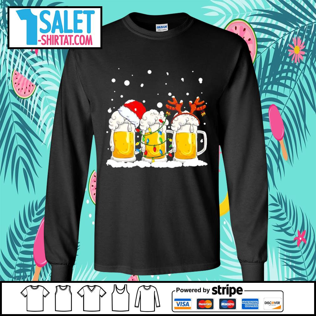 Beer Santa hat and Reindeer Christmas s longsleeve-tee.jpg