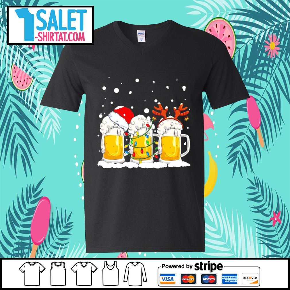 Beer Santa hat and Reindeer Christmas s v-neck-t-shirt.jpg