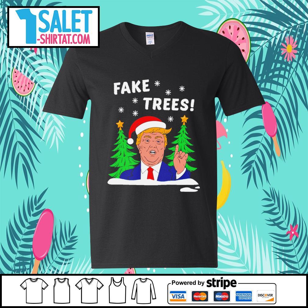 Donald Trump fake trees Christmas s v-neck-t-shirt.jpg