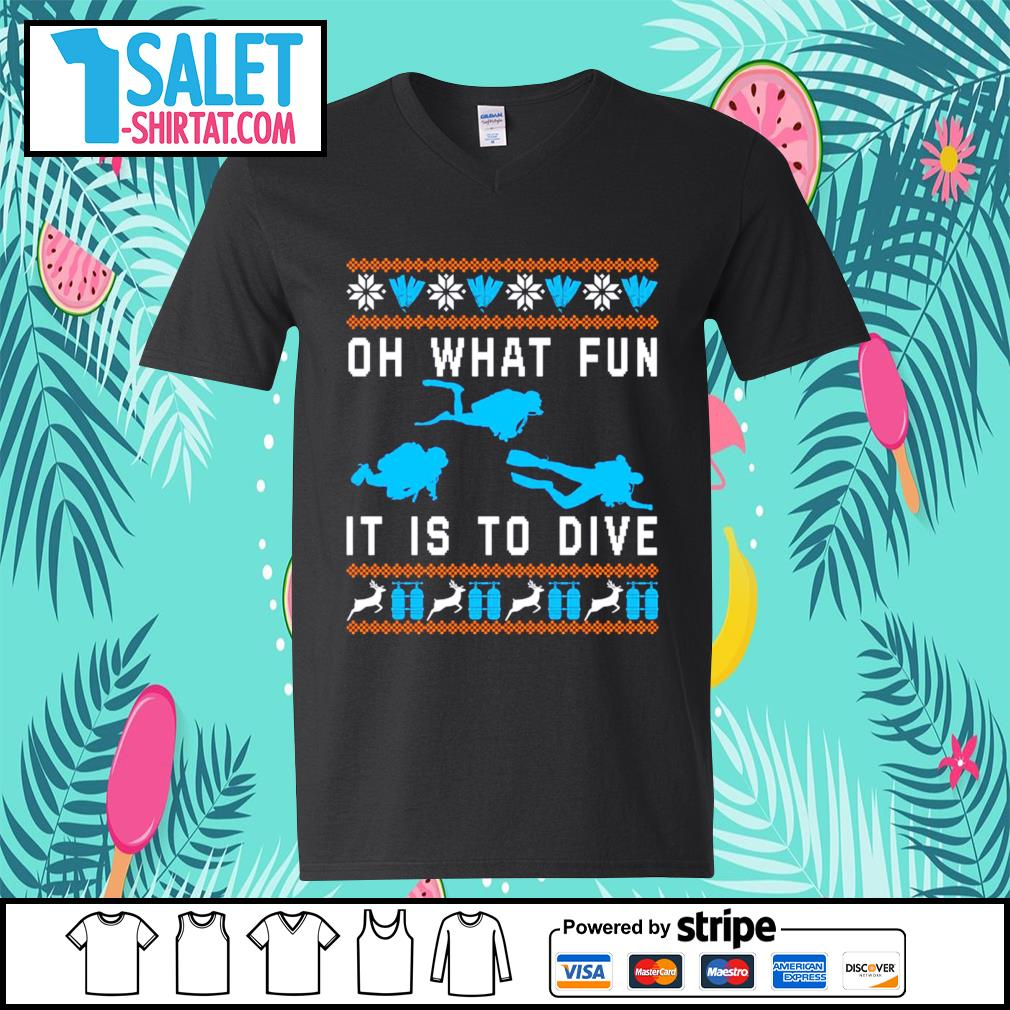Oh what fun it is to dive ugly Christmas s v-neck-t-shirt.jpg