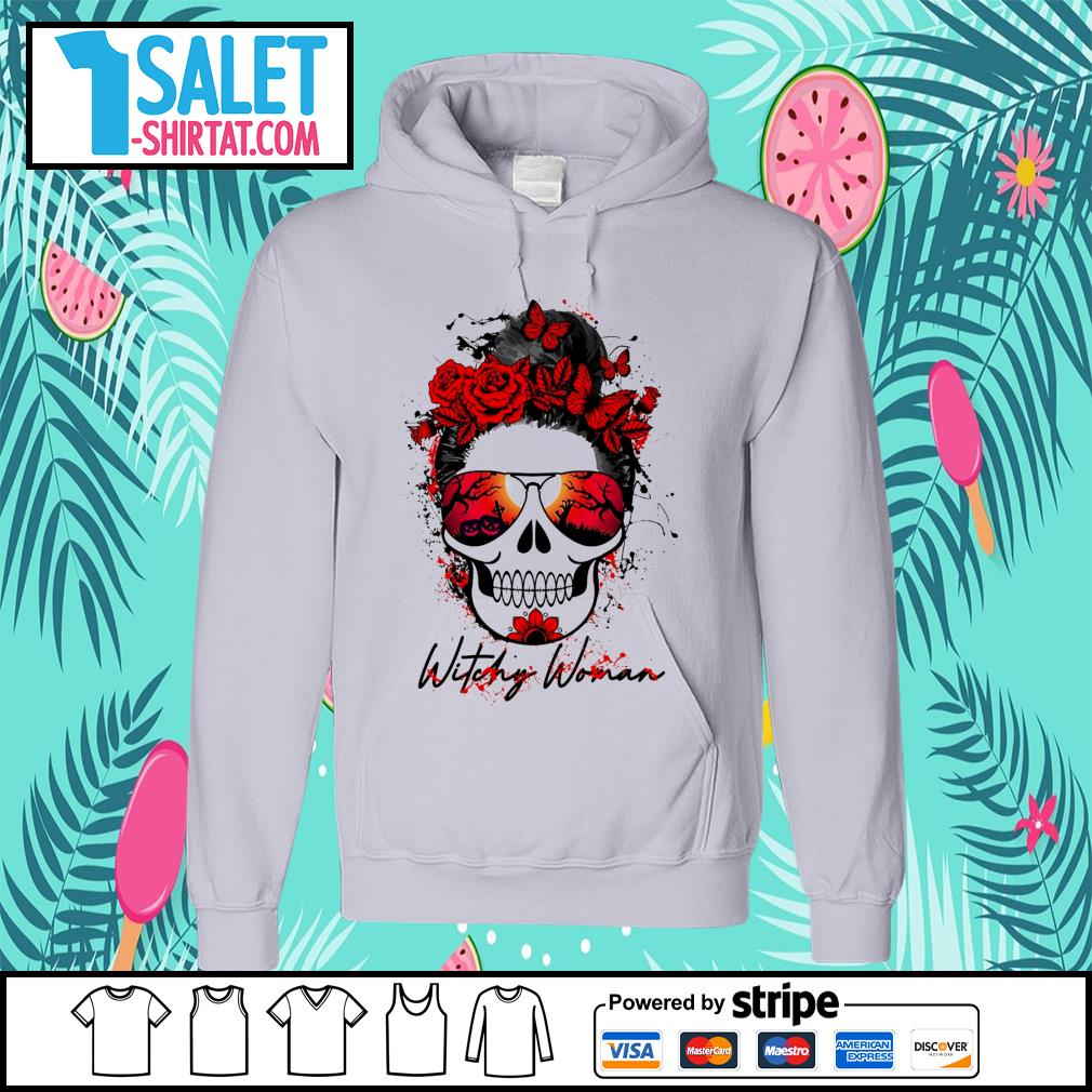 Witchy woman scary skull Halloween s hoodie.jpg