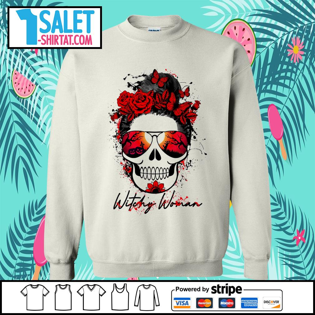 Witchy woman scary skull Halloween s sweater.jpg