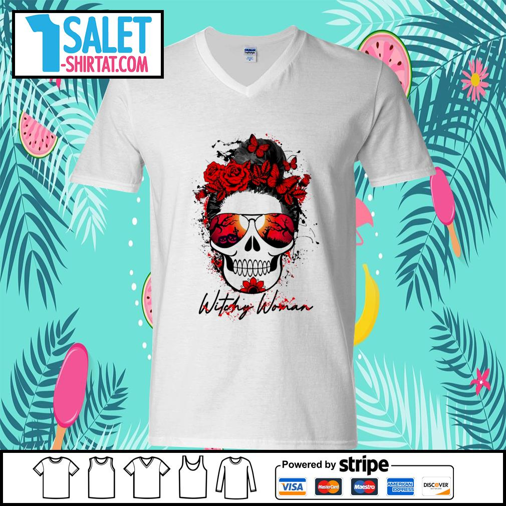 Witchy woman scary skull Halloween s v-neck-t-shirt.jpg