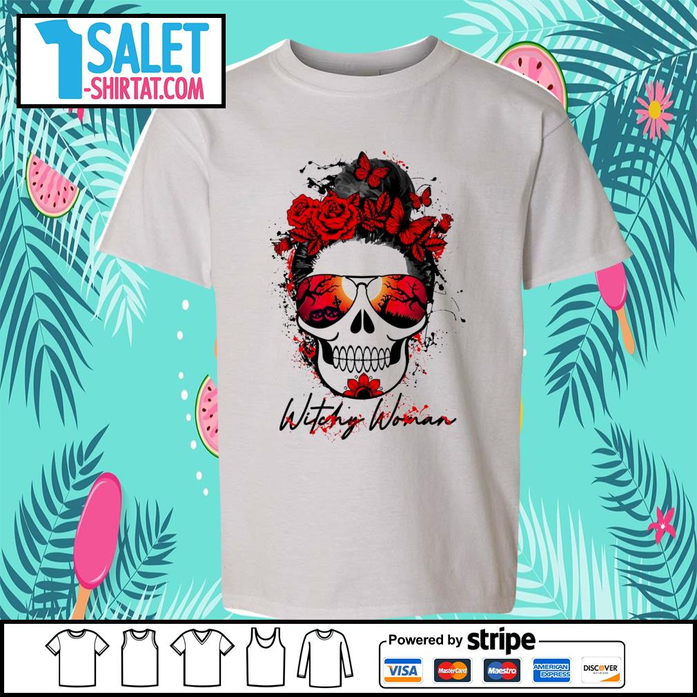 Witchy woman scary skull Halloween s youth-tee.jpg